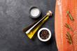 Leinwanddruck Bild - Raw salmon fish fillet and ingredients