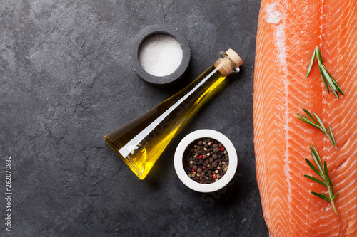 Raw salmon fish fillet and ingredients - 262070832