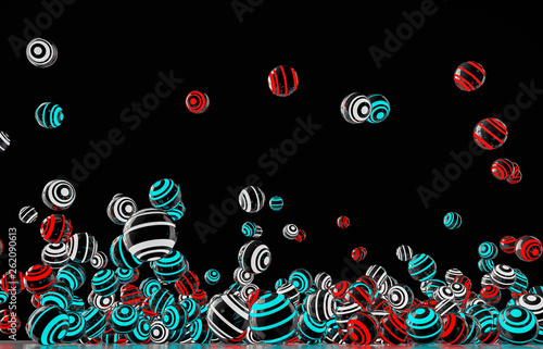a background with many neon colored balls (3d rendering) - 262090613