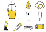 Set of varied equipment doodle icons