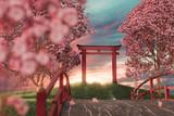 Japanischer Shintō-Schrein im wunderschönen Abendlicht. 3D Rendering