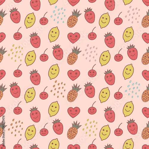 Fruits seamless pattern, kawaii style - 262103476