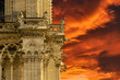 Cathedral Notre Dame Paris, gargoyle incredible fiery red sunset