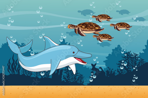 Sea with dolphin and turtles scenery © Jemastock