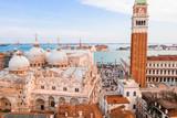 Epic panoramic aerial cityscape of Venice with Santa Maria della Salute church and Rialto bridge in Veneto, Italy