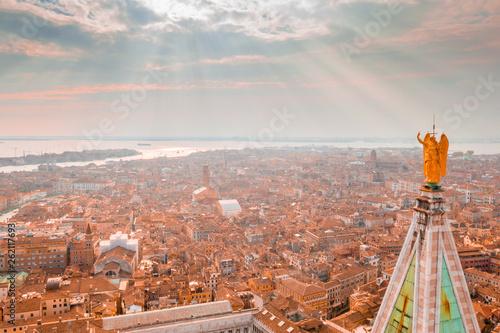 fototapeta na ścianę Epic panoramic aerial cityscape of Venice with Santa Maria della Salute church and Rialto bridge in Veneto, Italy