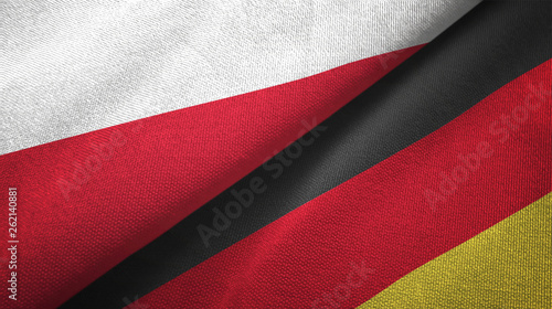 Poland and Germany two flags textile cloth, fabric texture