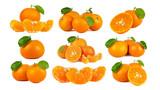 Mandarin Orange or tangerine citrus fruit isolated on white background.