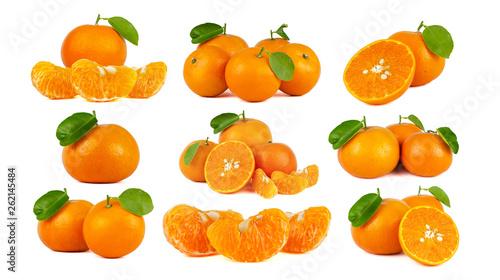 canvas print picture Mandarin Orange or tangerine citrus fruit isolated on white background.
