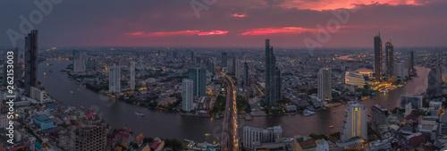 BANGKOK THAILAND - April 7 : aerial view of Taksin Bridge and Sathorn road in heart of Bangkok capital on April 7 , 2019 in Bangkok. Thailand - 262153003