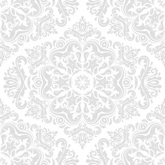 Orient classic light silver pattern. Seamless abstract background with vintage elements. Orient background