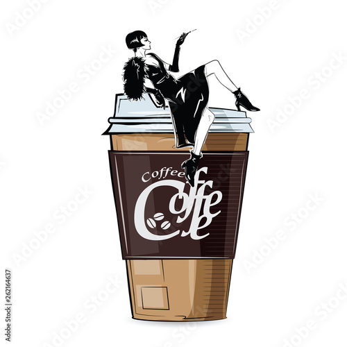Fashion girl in sketch-style with cup of cofe. Vector illustration. © Yevhen