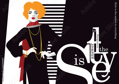 Fashion quote with fashion woman. Vector illustration © Yevhen