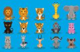 Wild Animal Cartoon Design Vector Set