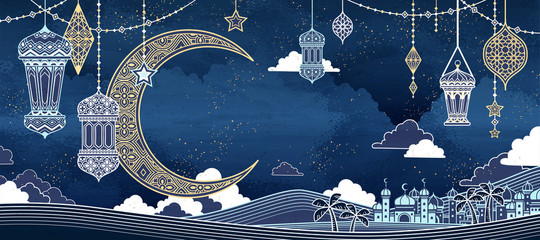 Islamic line style background