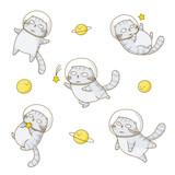 Set of cute scottishfold cats astronauts isolated on white background