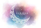 Abstract crescent moon graphic design and night sky watercolor digital art   painting for Ramadan Kareem Muslim holy month concepts backgrounds