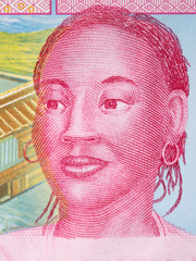 African woman, a portrait from Central African money