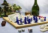 chess, dice, whiskey, domino, money