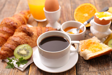 breakfast meal with coffee, egg and croissant