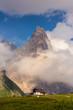 Quadro Dolomite mountain landscape in Passo di Rolle, Italy.