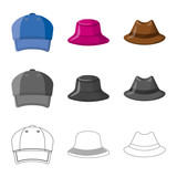 Isolated object of headgear and cap sign. Collection of headgear and accessory stock vector illustration.