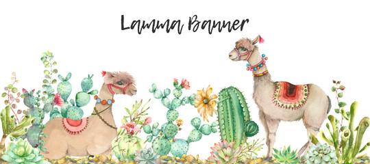 Desert Lama banner watercolor © Ivan Feoktistov