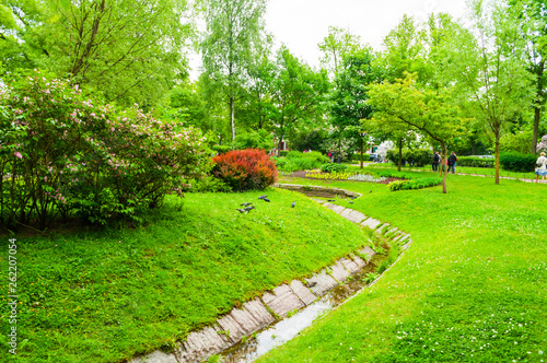 Leinwandbild Motiv Saint Petersburg,Russia.Landscaping in the Alexander park -ornamental public park and pond with flowerbeds