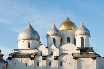 St Sophia cathedral in Veliky Novgorod, Russia. Closeup sunset view of Veliky Novgorod Russia landmark