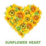 Sunflower heart banner watercolor