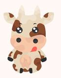 farmer cow in chibi style
