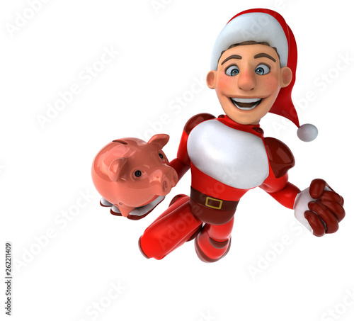 Fun Super Santa Claus - 3D Illustration - 262211409