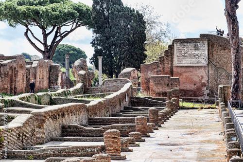 fototapeta na ścianę Archaeological Roman empire street view in Ancient Ostia - Rome - Italy
