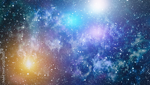 Blue dark night sky with many stars. Milky way on the space background © Maximusdn