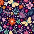 seamless floral pattern with flowers and butterflies - 262214835