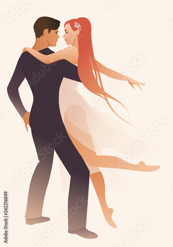 Beautiful couple of dancers holding each other. Girl with long hair and dancing clothes hugging her partner © LaInspiratriz