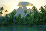 View of the Mont Otemanu mountain reflecting in water at sunset in Bora Bora, French Polynesia, South Pacific - 262217433