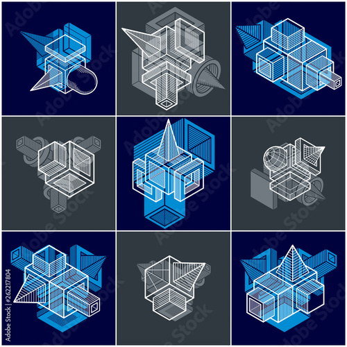 3D engineering vectors, collection of abstract shapes. - 262217804