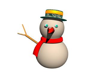 Schneemann mit Hut und Schal im Winter