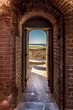 canvas print picture - Door in a brick wall