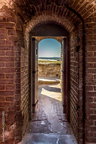 canvas print picture Door in a brick wall
