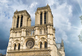 Notre Dame exterior view against a cloudy sky, Paris