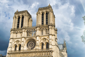 Notre Dame exterior view against a cloudy sky, Paris