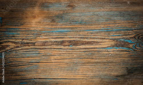 Old weathered wooden plank. Vintage white pine wood background. - 262234420