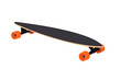 Longboard with orange wheels
