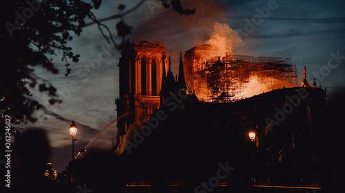 Leinwandbild Motiv Notre Dame de Paris ravagée par les flammes