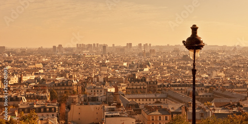 Aerial view of Paris from Montmartre hill at sunset, France © Delphotostock