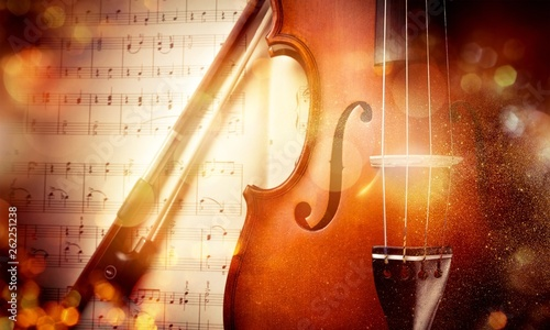 Close-up Photo Of Violin And Musical Notes - 262251238