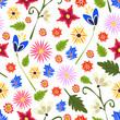 Seamless wildflower vector pattern.
