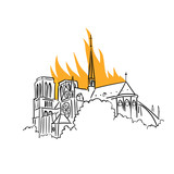 Notre-Dame de Paris fire. Tragic news from France. View of the spire. Vector Illustration.